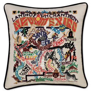 New Mexico Hand-Embroidered Pillow -  In beautiful detail this original design celebrates the State of New Mexico - from Carlsbad Caverns to White Sands to Gila Forrest to Anasazi to Mescalero - it truly is the LAND OF ENCHANTMENT!