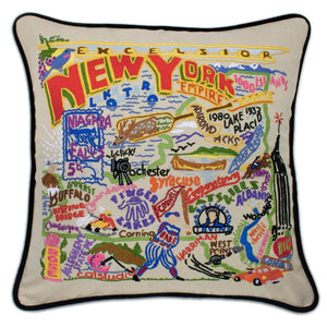 New York Hand-Embroidered Pillow -  This original design celebrates the State of New York - from Niagara Falls to the Adirondacks down the beautiful Hudson Valley to Woodstock and over to the Finger Lakes.
