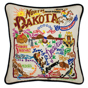 North Dakota Hand-Embroidered Pillow -  From the Badlands to the Prairie, Lewis & Clarke and the Rough Riders, this original design celebrates the State of North Dakota.