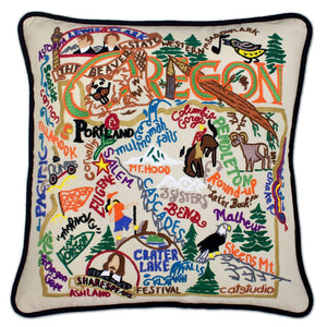 Oregon Hand-Embroidered Pillow -  From the Rogue River to Round-Up to the Columbia River Crater Lake - this original design celebrates the beautiful State of Oregon!