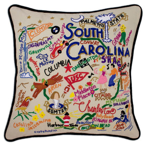South Carolina Hand-Embroidered Pillow -  From the Atlantic Ocean to Sassafras Mountain - this original design celebrates the great State of South Carolina!