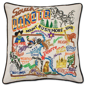 South Dakota Hand-Embroidered Pillow -  Mount Rushmore State! This original design celebrates the State of South Dakota.