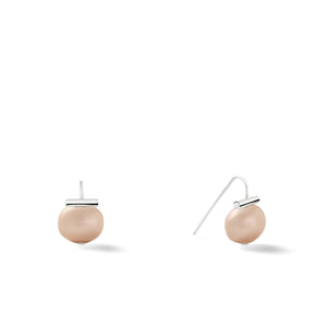 Sterling Baby Pebble Pearl Earrings in Soft Grey – Petite, scaled down versions of Catherine Canino's most popular design with a light grey stone and sterling silver, option for sterling silver/nude combo