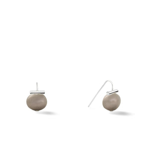 Sterling Baby Pebble Pearl Earrings in Soft Grey – Petite, scaled down versions of Catherine Canino's most popular design with a light grey stone and sterling silver, option for sterling silver/steel combo