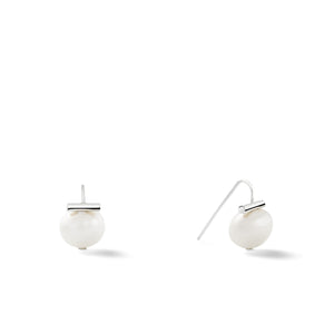 Sterling Baby Pebble Pearl Earrings in White – Petite, scaled down versions of Catherine Canino's most popular design with sterling silver and a classic white pearl
