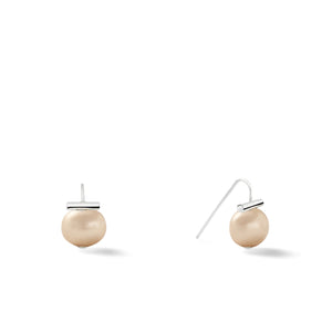 Sterling Baby Pebble Pearl Earrings in Taupe – Petite, scaled down versions of Catherine Canino's most popular design with sterling silver and a neutral tan stone