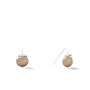 Sterling Baby Pebble Pearl Earrings in Soft Grey – Petite, scaled down versions of Catherine Canino's most popular design with a light grey stone and sterling silver, option for sterling silver/tobacco combo