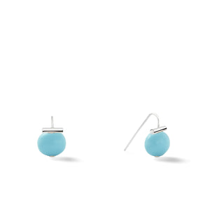Sterling Baby Pebble Pearl Earrings in Soft Grey – Petite, scaled down versions of Catherine Canino's most popular design with a light grey stone and sterling silver, option for sterling silver/turquoise combo