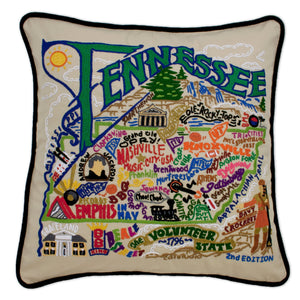Tennessee Hand-Embroidered Pillow -  The Volunteer State... This original design celebrates the State of Tennessee.