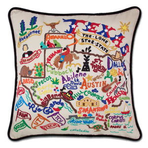 Texas Hand-Embroidered Pillow -  The Lone Star State. This original design celebrates the Country of...we mean state of Texas.