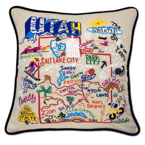 Utah Hand-Embroidered Pillow -  The Beehive State! This original design celebrates the State of Utah.