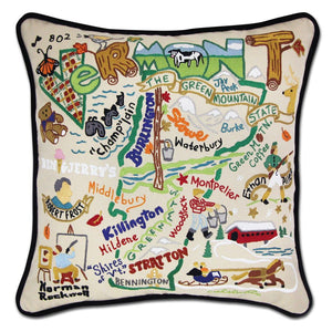 Vermont Hand-Embroidered Pillow -  This original design celebrates the Green Mountain State - Vermont!
