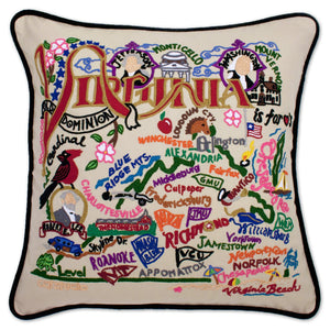 Virginia Hand-Embroidered Pillow -  From the Blue Ridge Mountains to the Atlantic Ocean, this original design celebrates the beauty and history of the state of Virginia.