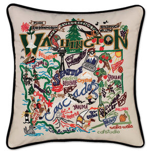 Washington Hand-Embroidered Pillow -  This original design celebrates the  Apple Capital of the World - Washington!