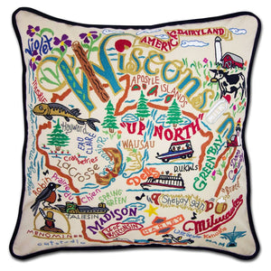 Wisconsin Hand-Embroidered Pillow -  From the Mississippi River to Lake Superior & Lake Michigan - this original design celebrates the beautiful State of Wisconsin!