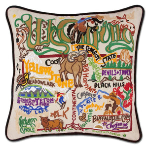Wyoming Hand-Embroidered Pillow -  The Cowboy State! This original design celebrates the State of Wyoming. Terrell, one of catstudio's owners, has a great uncle who was the sheriff of Jackson Hole in the 50's!