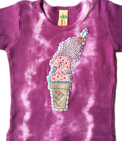 Rhinestud Ice Cream Birthday Tee