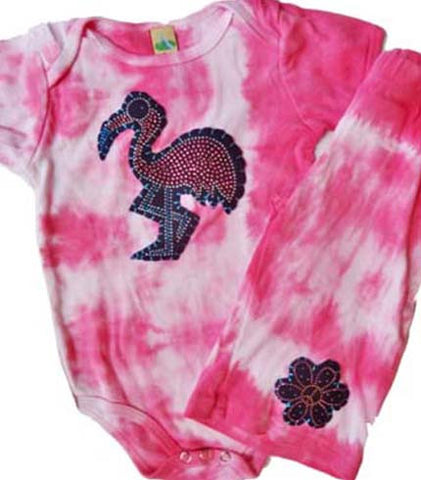 Flamingo Flower Onesie Outfit