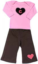 Heart with Initial Baby Lap Tee Pant set