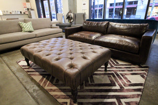 Clearance - Tufted Leather Ottoman