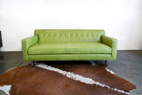 Green Leather Apartment Sofa