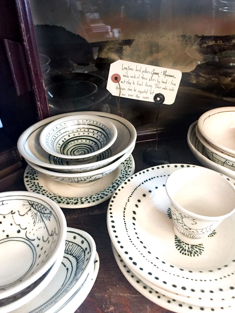 The boutique Noun offers black and white pottery from Portland, Oregon potters Jensen & Marineau.