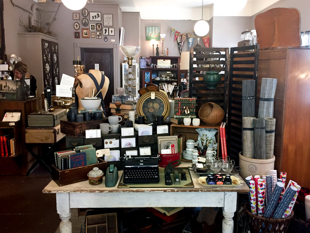 Local gift shop Noun offers stationary, jewelry and vintage finds.