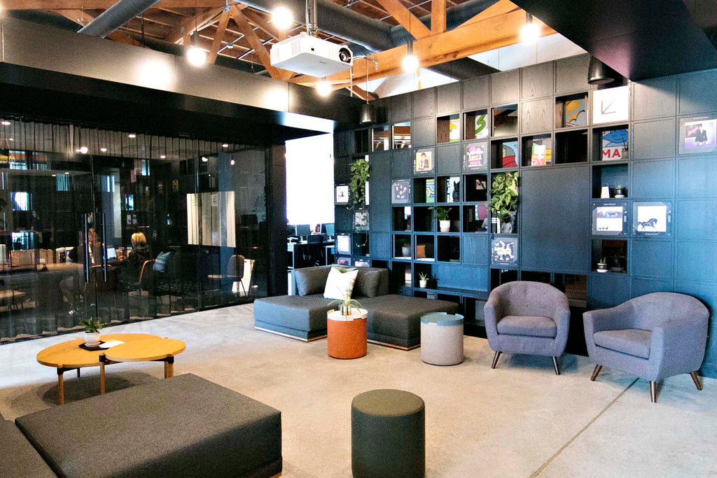 Mandy Rigar Interiors designed the Archrival Agency space with flexibility in mind so she chose the modular Division sectional to define the space