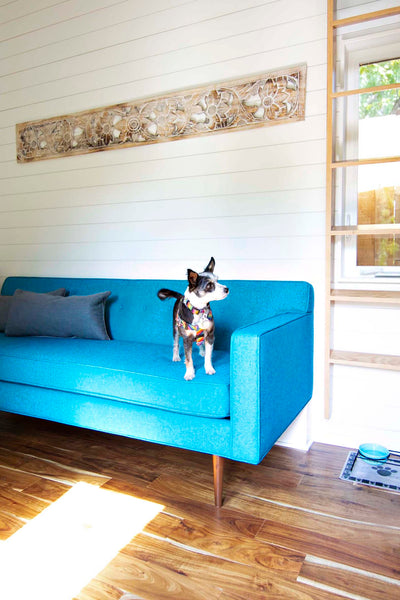 Pet friendly, durable and easy to clean Redhills fabric covers the custom couch.