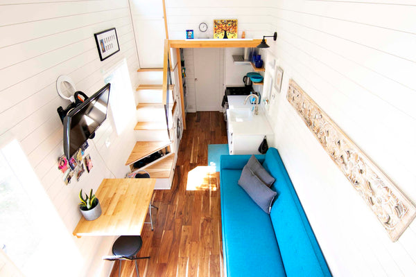 Tall ceilings in this Portland tiny home create a sense of space in the small footprint.