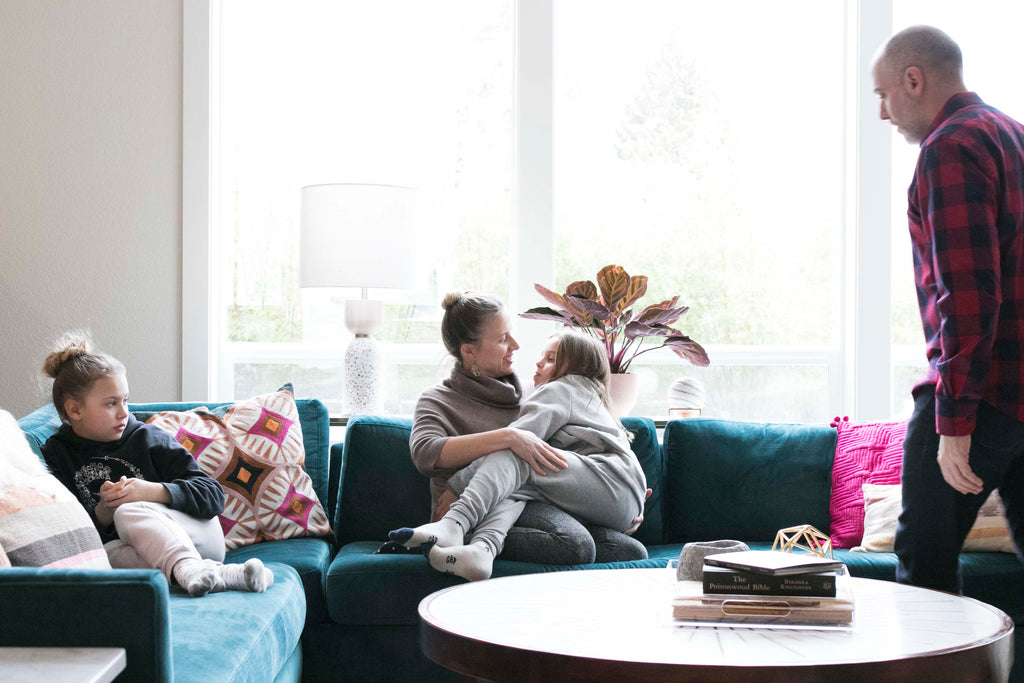 The Charlie sectional from Perch Furniture provides ample seating for a family.