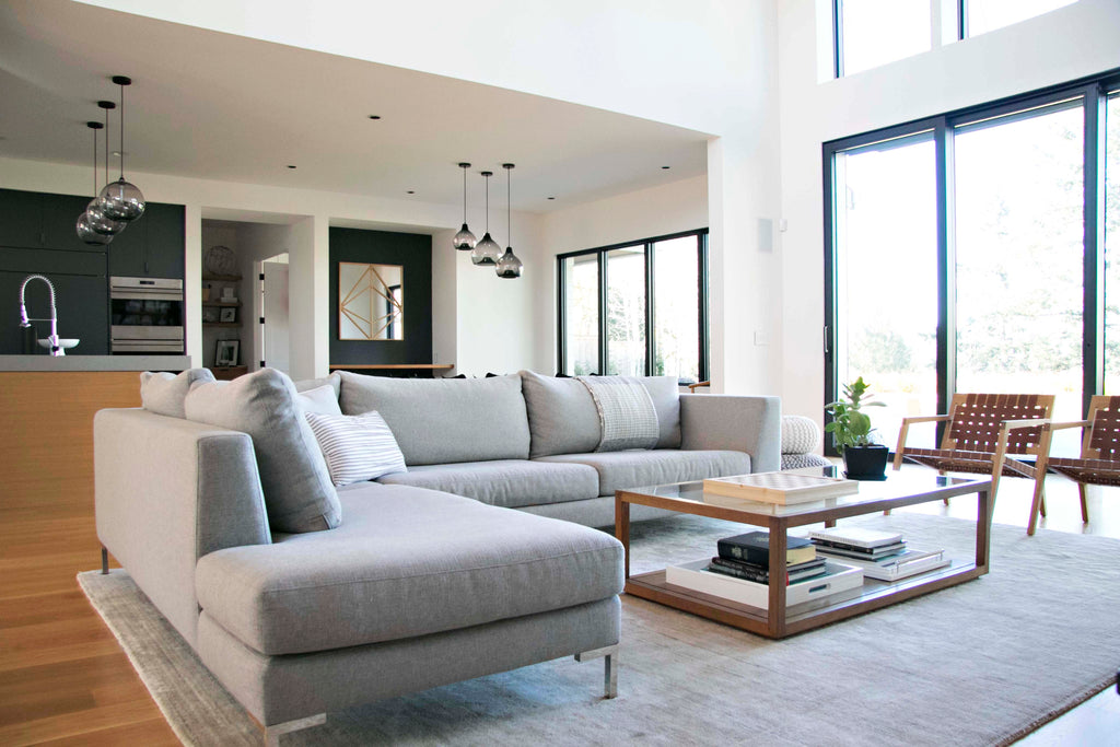 Verona Sectional upholstered in light grey wool.