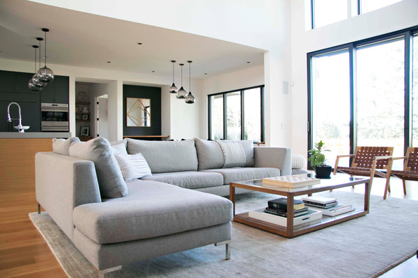 Modern Verona sectional with clean lines and smooth fabric