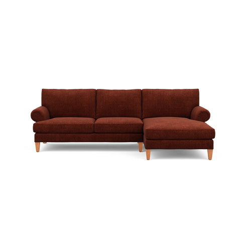 The Carlisle Sofa Chaise in burgundy