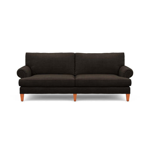 The Carlisle Sofa in dark brown fabric