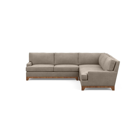 The Catalina sofa sectional, a traditional modern classic, in taupe fabric