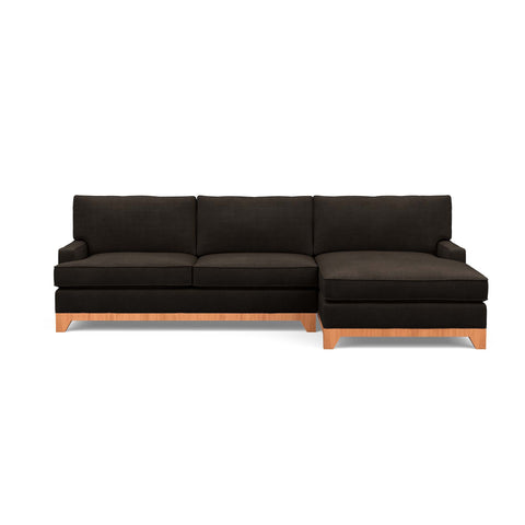 The Catalina sofa chaise, a traditional modern classic, in dark brown fabric
