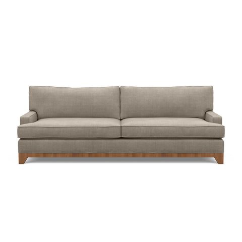 The Catalina sofa, a traditional modern classic, in taupe fabric