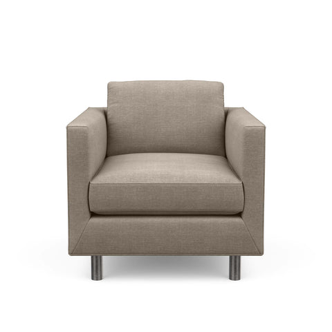 The Charlie Chair is a classic masculine couch. Here it is in taupe fabric