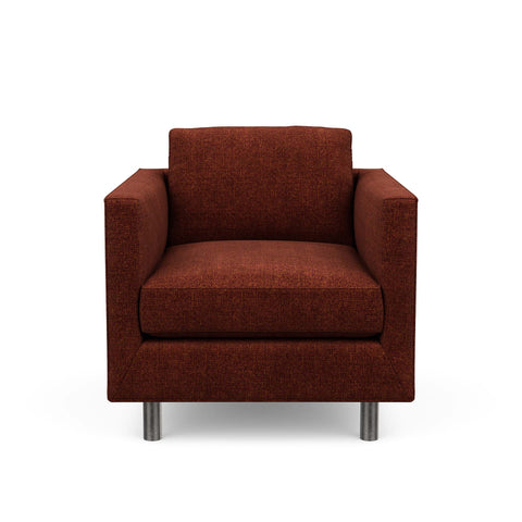 The Charlie Chair is a classic masculine couch. Here it is in a red wine fabric