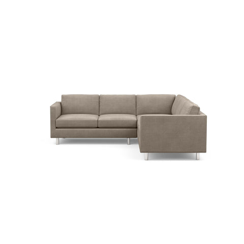 The Charlie Sofa Sectional, a classic masculine couch, in taupe fabric