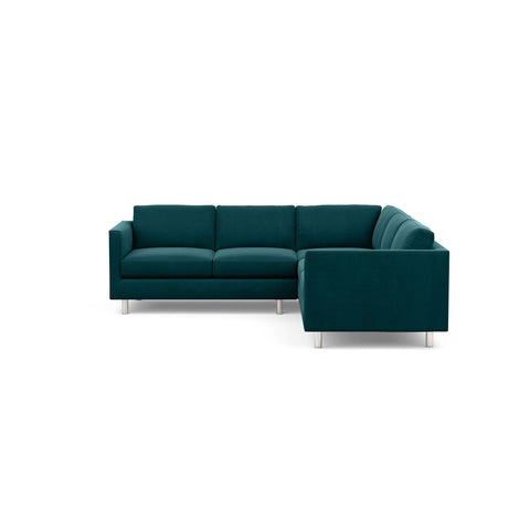 The Charlie Sofa Sectional, a classic masculine couch, in jewel green fabric