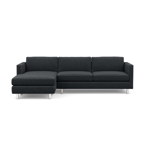 The Charlie Sofa Chaise, a classic masculine couch, in black fabric