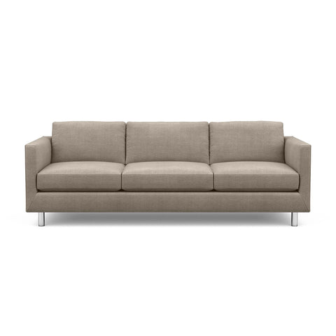 The Charlie Sofa, a classic masculine couch, in taupe fabric