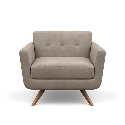 The Cooper Chair in taupe fabric is a hip, modern arm chair with a vintage mid-century look.