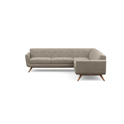 The Cooper Sofa Sectional in taupe fabric is a hip, modern sofa with a vintage mid-century look.