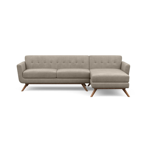 The Cooper Sofa Chaise in taupe is a hip, modern couch with a vintage mid-century look.