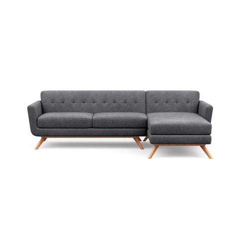 The Cooper Sofa Chaise in light grey is a hip, modern couch with a vintage mid-century look.