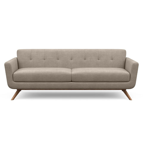 The Cooper Sofa in taupe fabric is a hip, modern couch with a vintage mid-century look.