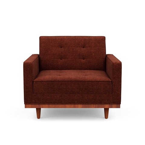 The Irving armchair is mid-century inspired & beautiful in red